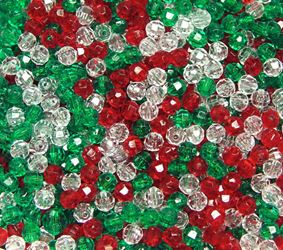 Transparent Christmas Mix 6mm Faceted Round Beads facted,beads,crafts,plastic,acrylic,round,colors,beading,stores