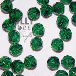 Transparent Christmas Tree Green 6mm Faceted Round Beads facted,beads,crafts,plastic,acrylic,round,colors,beading,stores