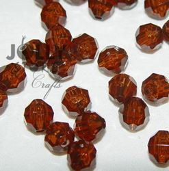 Transparent Root Beer 8mm Faceted Round Beads facted,beads,crafts,plastic,acrylic,round,colors,beading,stores