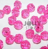 Transparent Shocking Pink 6mm Faceted Round Beads facted,beads,crafts,plastic,acrylic,round,colors,beading,stores