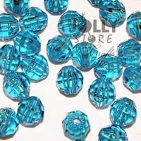 Transparent Turquoise Dark 6mm Faceted Round Beads facted,beads,crafts,plastic,acrylic,round,colors,beading,stores