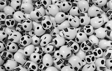 White Mini Skull Beads skull,beads,crafts,halloween