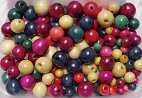 Colorful Wood Crafts Beads 150pc Assorted Colors and Sizes wood,beads,color